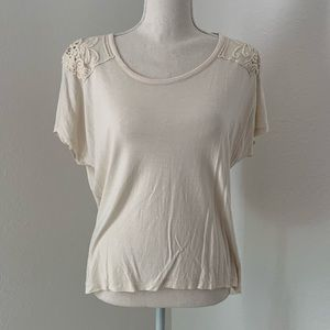 Forever 21 Lace Cream Tunic Shirt